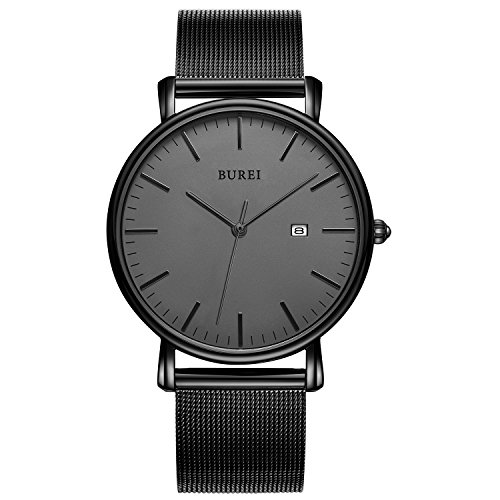 BUREI Mens Fashion Slim Quartz Wrist Watch with Stainless Steel Black Mesh Band (Gray)