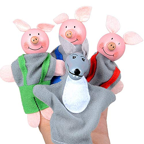 GrandToyZone DOLL SERIES 4pcs/Set - 10cm (3.9 inch) - Cartoon Animal Finger Puppet Plush Toys Children Favor Three Little Pigs and Wolf Dolls]()