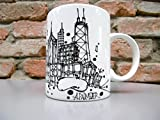 CHICAGO SKYLINE COFFEE MUG by Adam Palmeter Design featuring the HOME OF The CHICAGO CUBS WRIGLEY FIELD-WILLIS TOWER-JOHN HANCOCK CENTER-CRAIN BUILDING-PRUDENTIAL PLACE-THE BEAN!