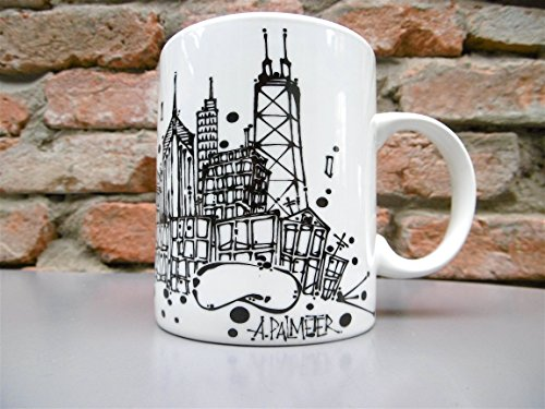 CHICAGO SKYLINE COFFEE MUG by Adam Palmeter Design featuring the HOME OF The CHICAGO CUBS WRIGLEY FIELD-WILLIS TOWER-JOHN HANCOCK CENTER-CRAIN BUILDING-PRUDENTIAL PLACE-THE - Illinois Chicago Hancock Building