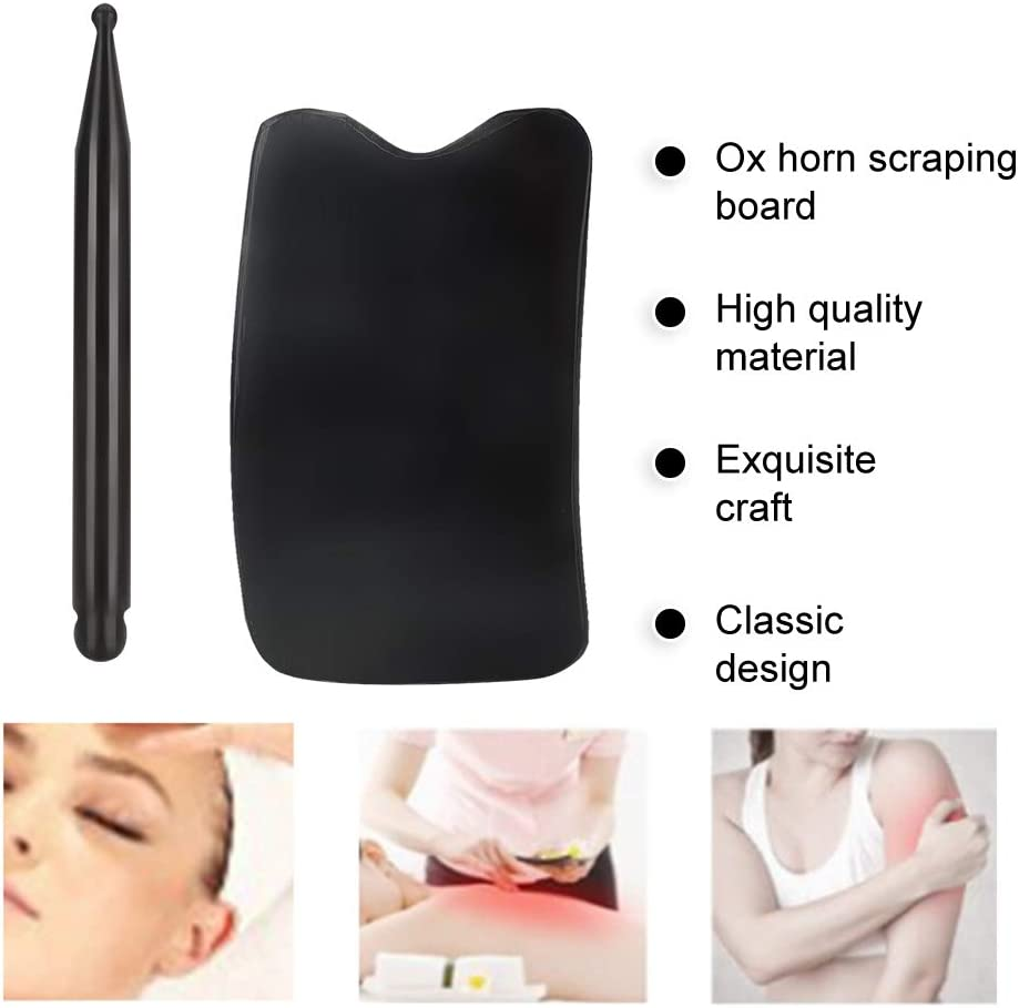 Square Slice+Acupoint Pen Qkiss Ox Horn Scraping Board Face Neck Massage Muscle Pain Relief Gua Sha Tool