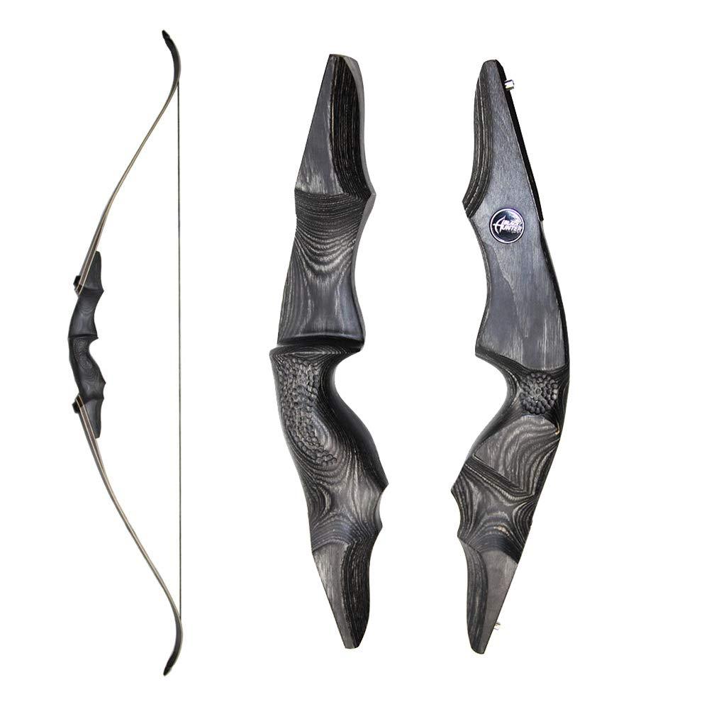 Obert オリジナル ブラックハンター 取り外し可能 リカーブボウ バンブーコア弓の腕 60インチ ハンティングボウ 右利き 30-60ポンド  45ポンド