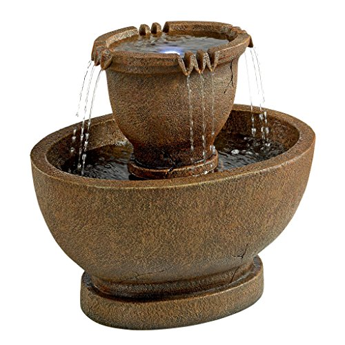 Design Toscano Richardson Oval Urns Cascading Garden Fountain, Large