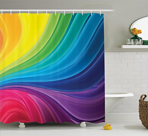 ome Decor Shower Curtain Set, Abstract Smooth Rainbow Curvy Lines Pattern Spiral Wavy Light Spray Art, Bathroom Accessories, 69W X 70L Inches ()