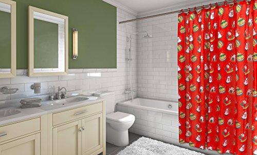 Santa's Sleigh 16-Piece Bath Set: 1 Shower Curtain, 12 Fabric Covered Hooks, 1 Lotion Pump and 2 Hand Towels - Santa's Globe