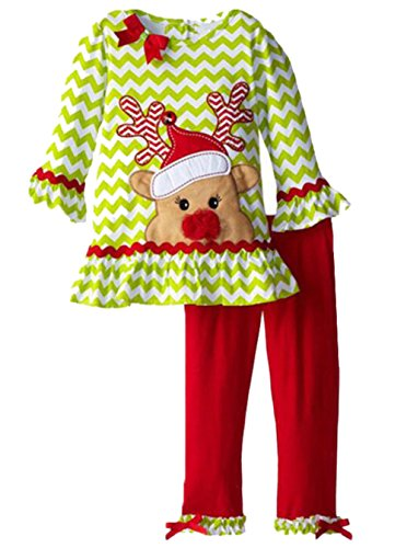 Kids Baby Girls Christmas Cartoon Deer Striped Shirt Pullovers Pants Outfits Size 4-5Years/Tag120 (Green)
