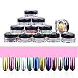 AMA(TM) 12 Colors Nail Glitter Powder Shinning Nail Mirror Chrome Powder Eyeshadow Makeup DIY Nail Art Pigment Glitter Dust Powder Set (Multicolor)