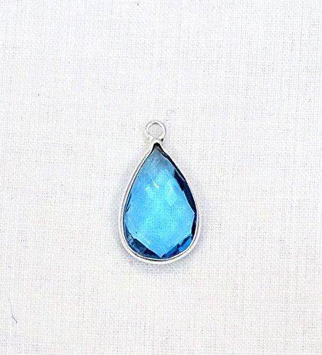 1 Piece Swiss Blue Topaz Hydro Faceted Pear Bezel 925 Silver Plated Single Bail Pendant ()