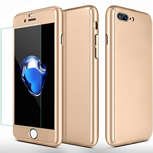 iPhone 7 Plus Case, iPhone 8 Plus Case,SEEKFULL 360 Full Body Protection Ultra-thin Hard Slim Case with [Tempered Glass Screen Protector]case for Apple iPhone 7 Plus,iPhone 8 Plus (Gold)