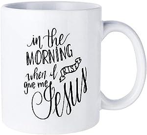 Funny White Coffee Mug, Handlettered Mug Christian Saying Give Me Jesus Two Tone Ceramic Novelty Cup Ideal Gift with Inspirational Sayings Quotes Mug11oz
