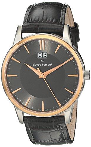Claude Bernard Men's 63003 357R GIR Classic Gents Analog Display Swiss Quartz Black Watch
