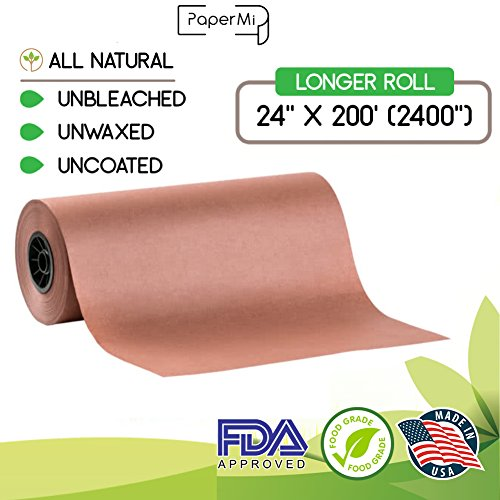 "Pink Butcher Kraft Paper Roll 24"" x 200' (2400"") Peach Wrapping Paper for Beef Briskets, BBQ Meat Smoking USA Made, All Natural FDA Approved Food Grade, Unbleached, Unwaxed, Uncoated Sheet"