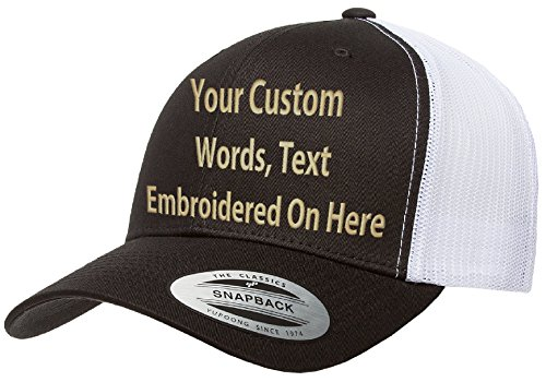 Custom Trucker Hat Yupoong 6606 Embroidered Your Own Text Curved Bill Snapback (Black/White Trucker) -