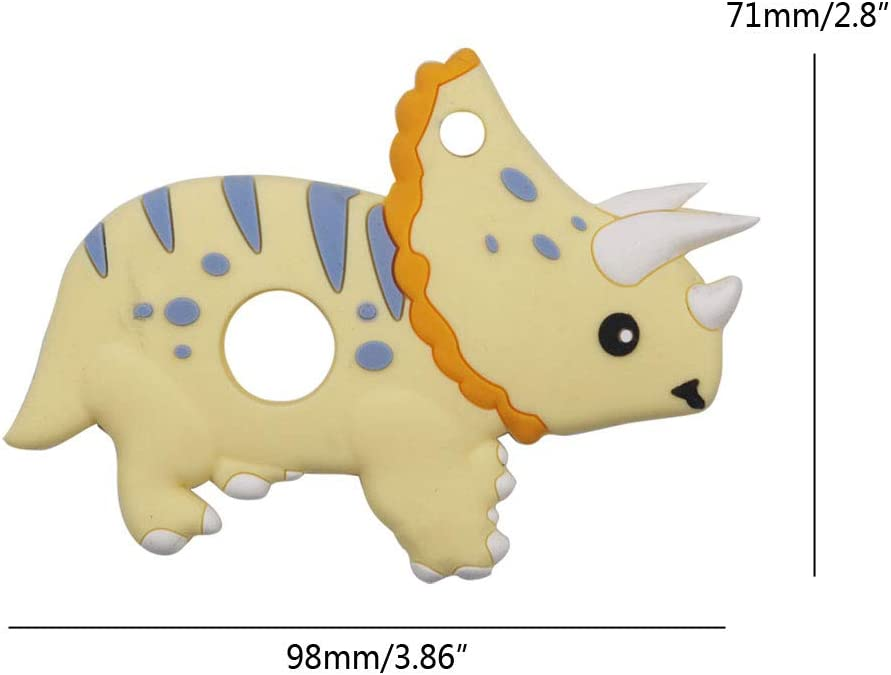 Jouet De Dentition Personnalis/é Jouet /À M/âcher Anneau de Dentition Silicone sans BPA- Dinosaure Triceratops Manyo Perles Silicone B/éb/é Rose