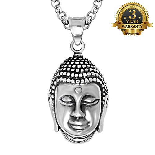 W-Q Mens Cool Personality Lucky Buddhism Buddha Pendant Titanium Steel Necklace Sautoir Halloween Jewelry(20