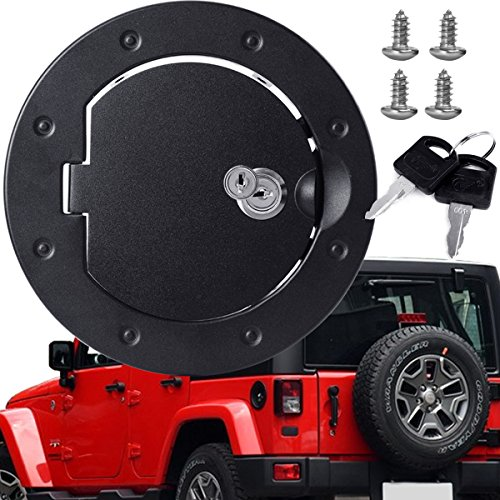 ding Fuel Filler Tank Gas Cap Door Cover, Black Powder Coated Steel Cover Housing Fit for 2007-2018 Jeep Wrangler JK & Unlimited Sport Rubicon Sahara with Key ()