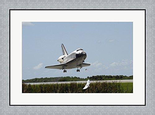 Shuttle Atlantis Space Landing (NASA Space Shuttle Atlantis Landing Framed Art Print Wall Picture, Flat Silver Frame, 30 x 23 inches)