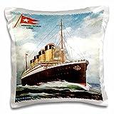 "3dRose pc_149236_1 Vintage White Star Line Ss' Titanic Pillow Case, 16"" x 16"""
