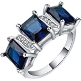 18kt white Gold filled Royal blue sapphire CZ Wedding Engagement Ring Size 7-10 LOVE STORY (7)
