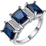Fashion Dark Blue Sapphire 18K Gold Filled Ring Engagement Wedding Jewelry Gift ERAWAN (7 #)