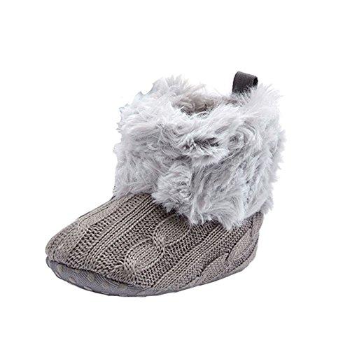 Haodasi Winter Baby Schuhe Junge Mädchen Anti-Rutsch Stricken Samt Erstes Gehen Schuh 0-24 Monate 7 Farbe Grau