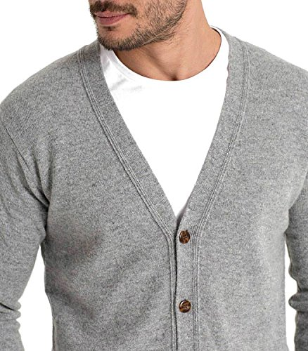 WoolOvers Strickjacke mit V-Ausschnitt aus Lammwolle für Herren Flannel Grey, M