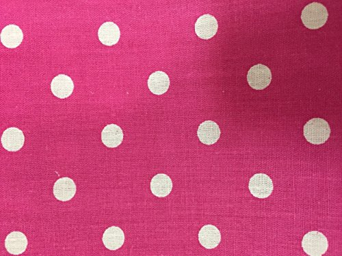 Hot Pink White Small Polka Dot Poly Cotton Fabric -Sold By The Yard - 58