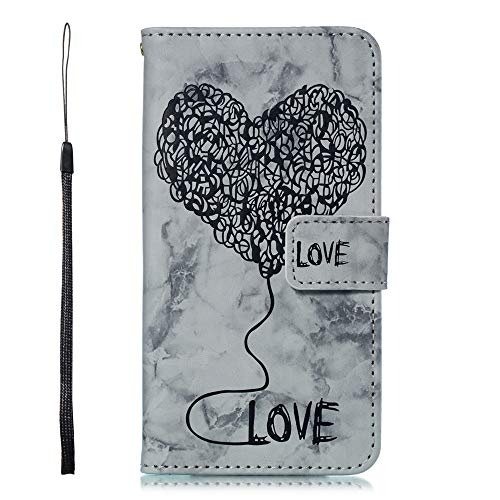 Ivy Galaxy J7 2018 Wallet Cases [Marble Love Balloon] PU Leather Cover Wallet Phone Case for Samsung J7 V 2018/J7 Refine/J7 Star/J7 Aero/J7 Top/J7 Crown/J7 Aura/J7 Eon - Black ()