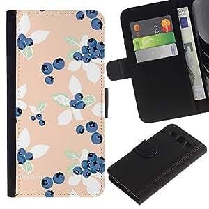 SAMSUNG Galaxy S3 III / i9300 / i747 Modelo colorido cuero carpeta tirón caso cubierta piel Holster Funda protección - Peach Blue Vignette Wallpaper