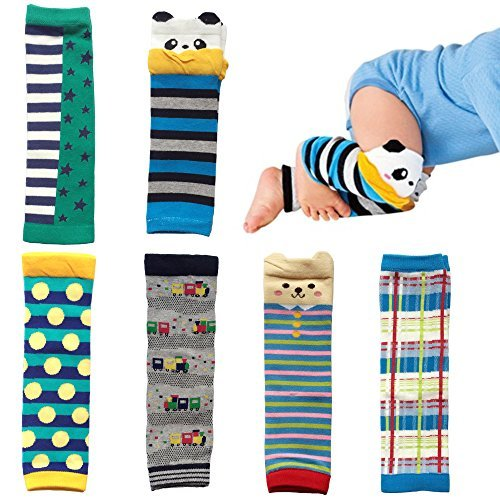 Elesa Miracle 6-Pack Baby & Toddler Cozy Soft Leg Warmers, Kneepads, Gift Set for Boys & Girls Boy Set