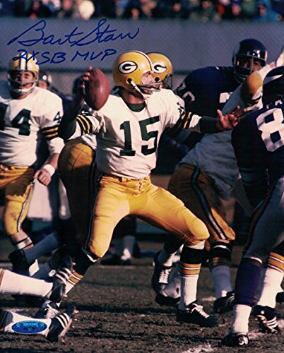 (Bart Starr Autographed Green Bay Packers 8x10 Photo 2x SB MVP)