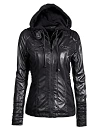 YACUN Women's PU Leather Motorcycle Jacket Hooded Coats with Zipper