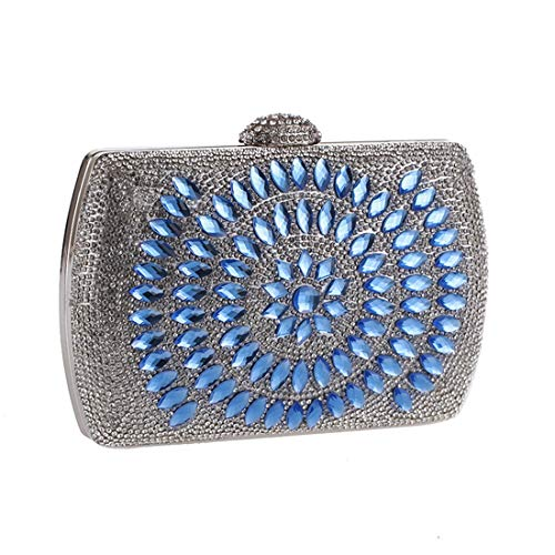 Luxury Bag Bag Bag Evening Exquisite Fly Rhinestone American Blue Banquet European Evening Clutch 84UHxwS