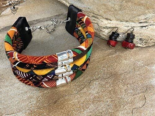 Black Sunkissed Marula Style African Choker Cloth /& Cord Kente Choker Kente Fabric Choker Red yellow