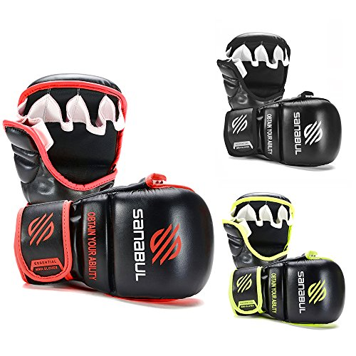 Sanabul New Item Essential 7 oz MMA Hybrid Sparring Gloves (Black/Red, (Mma Striking Training Gloves)
