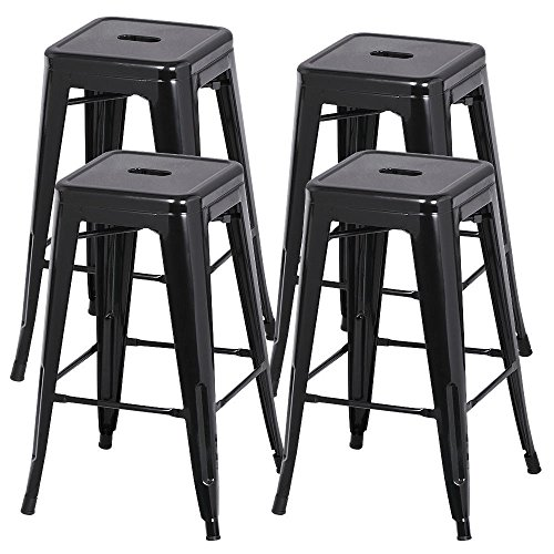 30' Iron Swivel Bar Stools (Contemporary Design Stackable Set of 4 Metal Bar Stools Heavy Duty Metal Counter Barstool Comfort Footrest Hand-holds Non mar Feet Prevent Sliding Scratching Floor Black 30