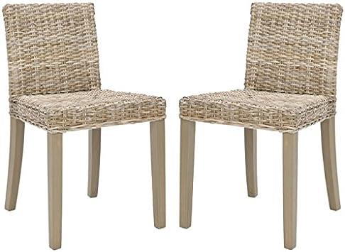 Amazon Com Safavieh Home Collection Tulum Grey Wash Side Chair Set Of 2 Furniture Decor
