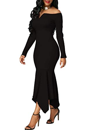 e4307994f565 Chic-Lover Women s Long Sleeve Off Shoulder Knit Slim Fit Bodycon Sweater Maxi  Dress Black