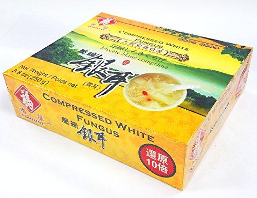 Fortune - Compressed Premium Quality White Snow Fungus Mushroom - 8.8 Oz - (Tremella Fuciformis) - Unbleached