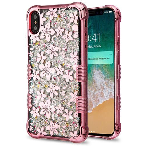 iPhone Xs Max Case, Shockproof Slim Ultra Hybrid Quicksand Glitter Sparkel Hard Back Protective Case for iPhone Xs Max 6.5 Inch 2018 Release - Rose Gold Hibiscus Flower/Silver Sparkles