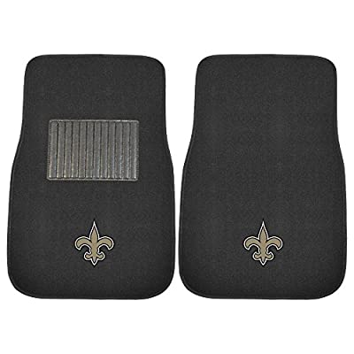 FANMATS 10349 NFL New Orleans Saints 2-Piece Embroidered Car Mat