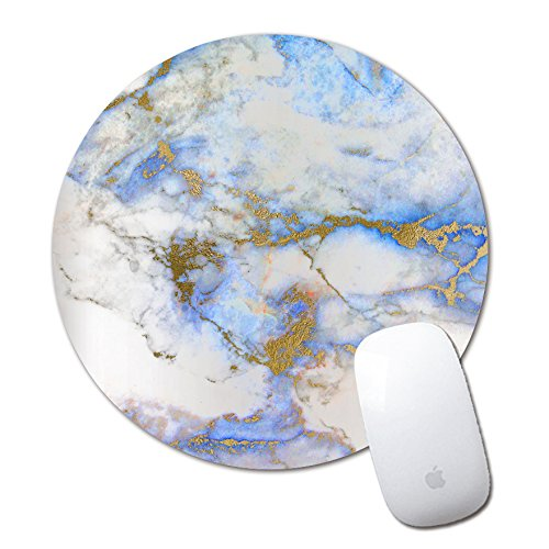 Blue Golden Marble Pattern Small Round Office Mouse Pad Mousepad Non-Skid Rubber Pad for Optical/Trackball Mouse