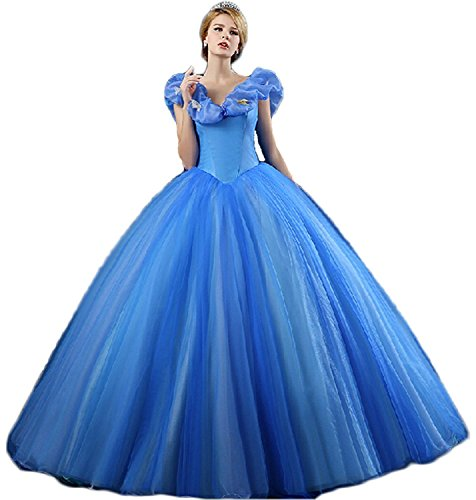 MissProm Women Cinderella Princess Prom Dress Long Pageant Ball Gowns (18W, Blue)