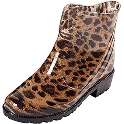 Wealsex Women Fashion Chlesea Wellies Ankle Rubber Wellington Boots Waterproof Winter Short Rain Boots Non-Slip Leopard Print