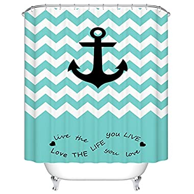 Goodbath Nautical Anchor Shower Curtain, Waterproof and Anti-Resistant Fabric Bathroom Curtains, 66 x 72 Inch, Teal White Black