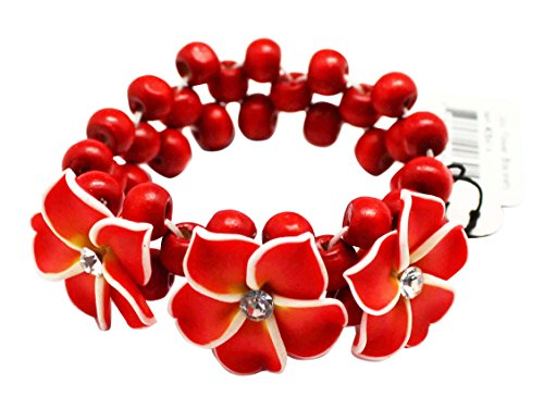 - Red Colored Tropical Flower Bracelet With Cherry Red Beads