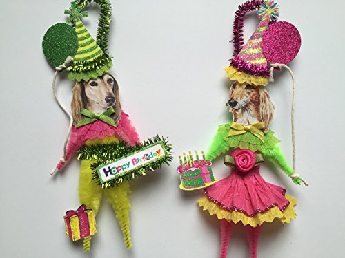 (Saluki BIRTHDAY ORNAMENTS Vintage Style Chenille Ornaments Set of 2)