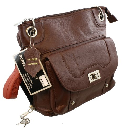 Medium Brown Crossbody Leather Locking Concealment Purse - CCW Concealed Carry Handgun Pistol Bag from Roma Leathers