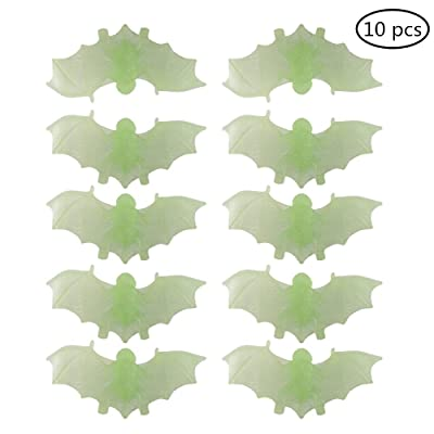 Joku 10 Pieces Glow in The Dark Fake Bats Night Light Illusion Luminous Realistic Plastic Fake Bats Spooky Bats for Halloween Trick Toys Decoration Supplies (Green): Toys & Games