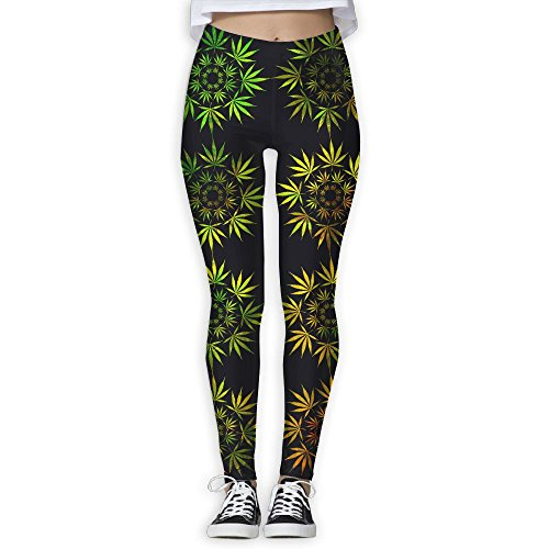 Rasta Cannabis Weeds Circle Women's Tummy Control Sports Running Yoga Workout Leggings Pants L